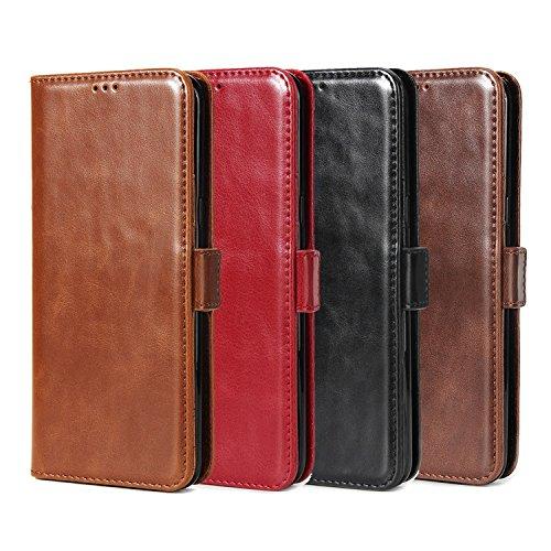 Funda LG X Power 2,SunFay Premium Cuero PU Cover Magnético Flip Folio Ranura para Tarjetas Protective Billetera Funda Case con Stand Función para LG X Power 2- Café Rojo