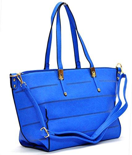 Gyoiamea b49 - Bolso al hombro para mujer Blanco Bianco grande larghezza:44cm altezza:26cm profondità:15cm Azul Elettrico