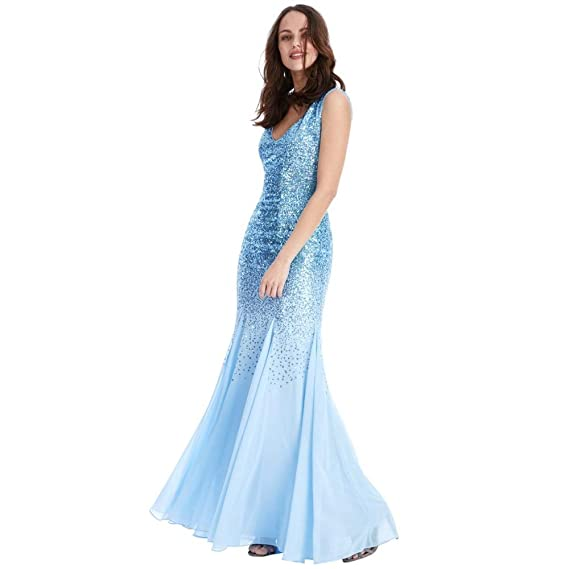 c61c2da9dc0e Goddiva Sequin Maxi Dress with Chiffon Inserts: Amazon.co.uk: Clothing