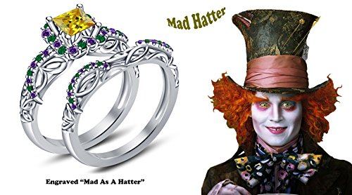Classic Mad Hatter Set (TVS-JEWELS Multi Stone Classic Platinum Plated 925 Sterling Silver Mad Hatter Engagement Bridal Ring Set For Women's (8))