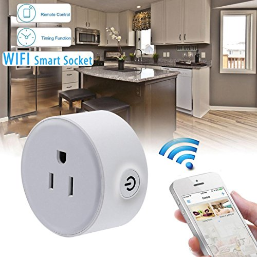 Leewa Timing Smart Switch Socket, Wireless US WiFi Phone Remote Repeater Smart AC Plug Outlet Power Switch Socket (Net Control Over Power)