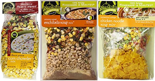 Frontier Soups Natural Homemade In Minutes Gluten-Free Soup Mix 3 Flavor Variety Bundle: (1) Illinois Prairie Corn Chowder Mix (1) Arizona Sunset Enchilada Soup (1) Connecticut Cottage Chicken Noodle (Best Mushroom Barley Soup)