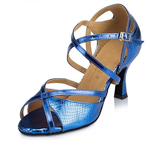 Señoras Moda Zapatos Cómodos Lamba Capilla Zapatos Azul oscuro de 8cm.