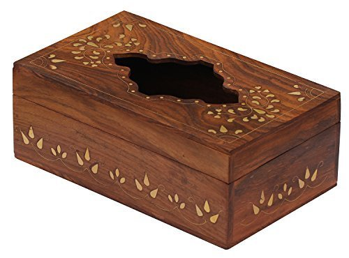 Wood Rectangular Tissue Box Cover / Tissue Holder - Perfect-Fit Wooden Tissue Paper Dispenser for Kleenex Tissue Box Pack by SouvNear