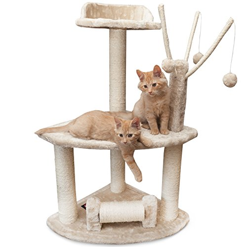 Majestic Pet Products 36 inch Beige Casita Cat Furniture Condo House Scratcher Multi Level Pet Activity Tree
