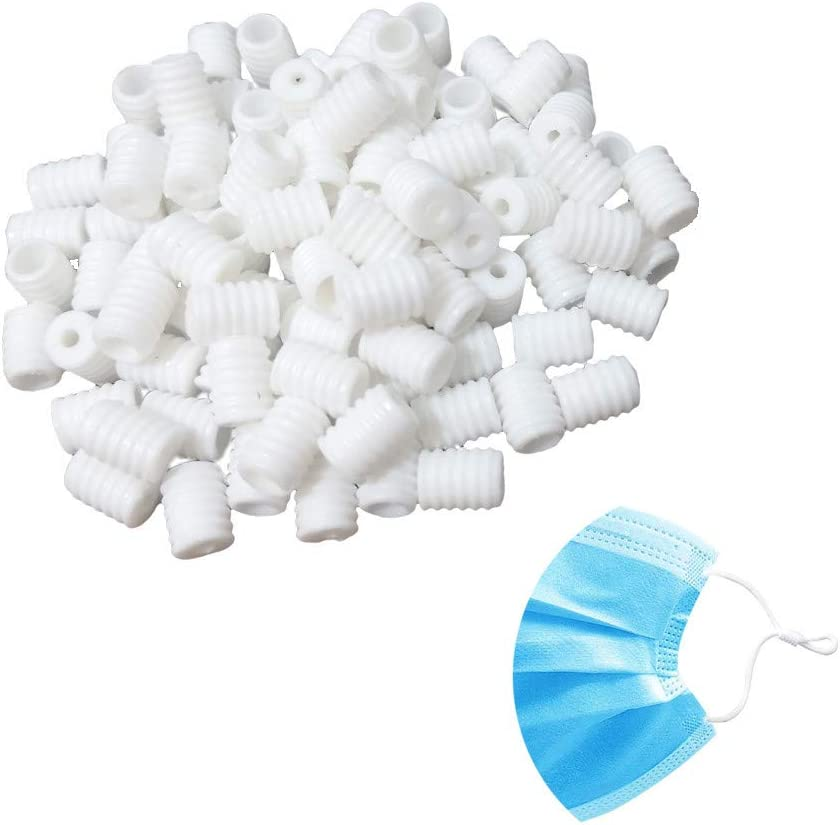 Cord Locks Silicone Toggles for Drawstrings Elastic Cord Adjuster Elastic Mask Adjustment Buckle Barrel Connectors Stopper 100pcs White Round