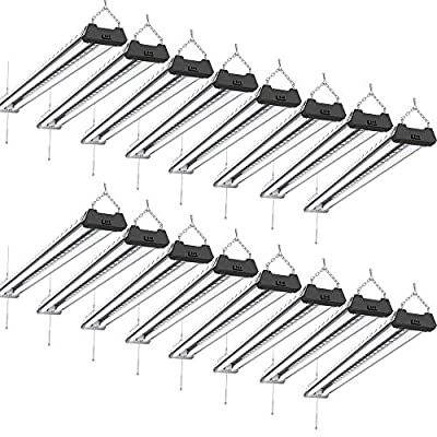 Sunco Lighting 16 Pack Industrial LED Shop Light, 4 FT, Linkable Integrated Fixture, 40W=260W, 5000K Daylight, 4000 LM, Surface + Suspension Mount, Pull Chain, Utility Light, Garage- Energy Star