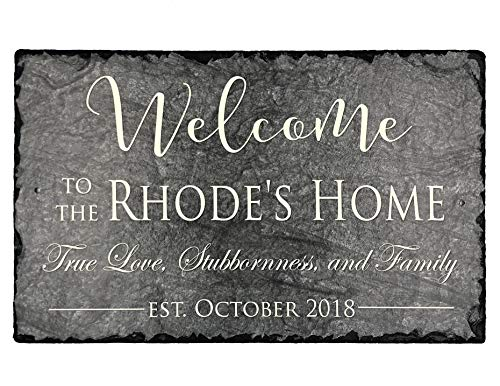 "- Sassy Squirrel Beautifully Handcrafted and Customizable Slate Home Address Plaque (16""x10"" or 12""x8"") Personalized House Sign with and mounting Hardware. Improve The Curb Appeal of Your Property"