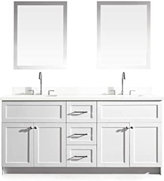 Dkb Bradford Series 73 Inch Double Rectangle Sink Bathroom Vanity Set In White Pure White Quartz Countertop 4 Soft Closing Doors 3 Full Extension Dovetail Drawers Matching Framed Mirrors Amazon Com