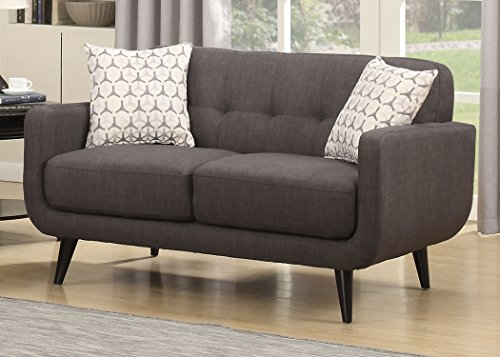 AC Pacific Crystal Collection Upholstered Charcoal Mid-Century Tufted Loveseat with 2 Accent Pillows, Charcoal