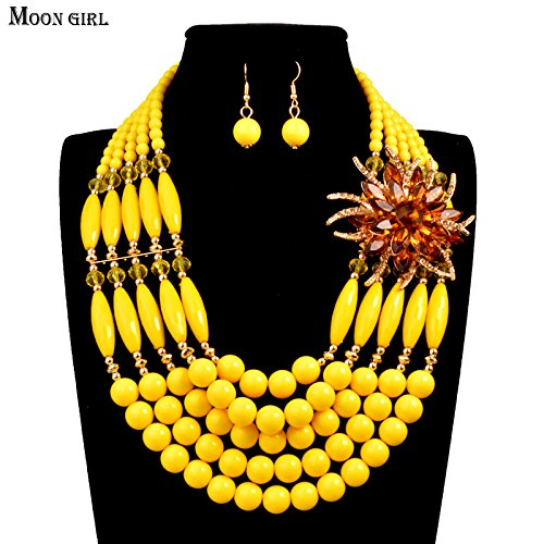 Nigeria bridal wedding African beads jewelry set Fashion Statement Necklace for women Moon Girl Handmade Braid Jewelry sets (yellow) (Earrings 18k Coral)