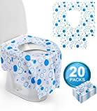 Toilet Seat Covers Disposable - Potty Seat Covers 20 Packs XL Full Cover Individually Wrapped Waterproof, Non Slip for Kids Toddler Child Potty Training Pregnant Adults Road Trip Traveling by TOCODE