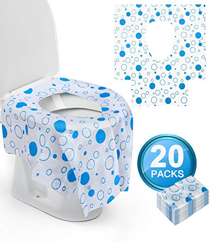 20 Packs Disposable XL Toilet Seat Covers for Kids Toddlers Portable Potty Training /& Home Travel Use,Individually Wrapped,Cartoon Design