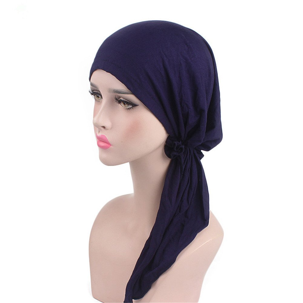 Women Head Scarf Soft Lycra Modal Cotton Turbans Chemo Caps Tied Bandana Head Wrap (Dark Blue)