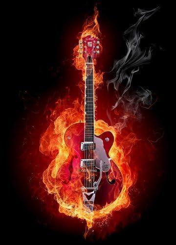 Mural de quema de guitarra roja papel 254 x 183 cm negro y rojo ...