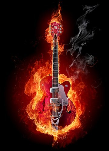 Wall Mural BURNING RED GUITAR Photo Wallpaper 254x183cm Black And Red Flames By Nice Walls