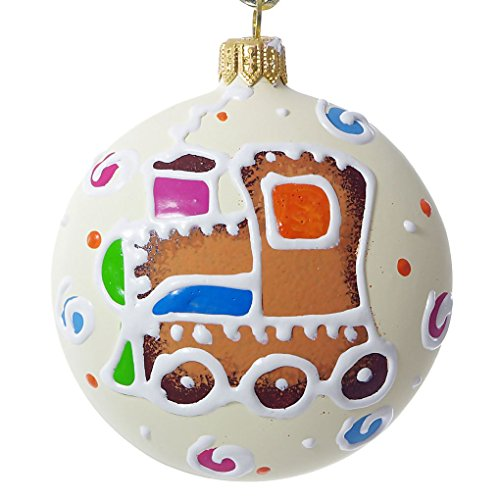 - HolidayGiftShops Toy Train Medallion - Hand Painted Christmas Ornament.