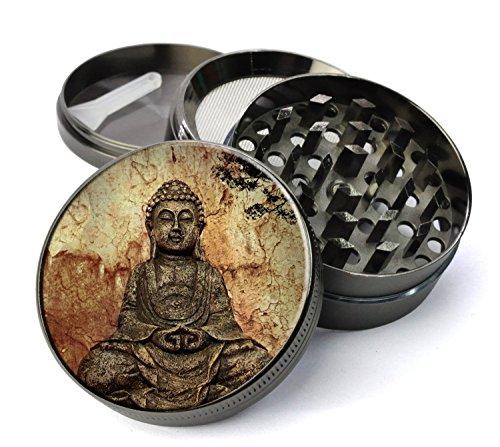 Buddha-Pattina-Extra-Large-5-Piece-Spice-Tobacco-Herb-Grinder-with-PollenKeef-Catcher