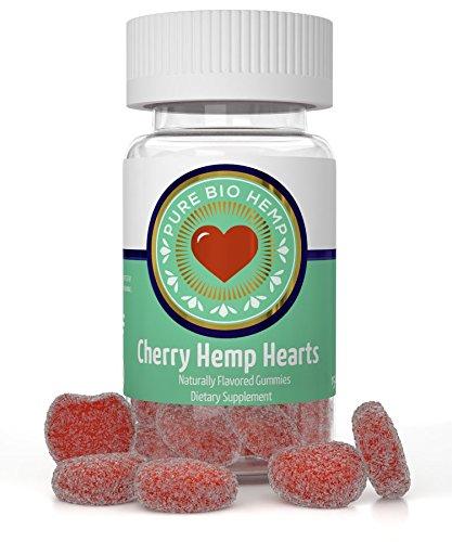 Organic Hemp Hearts Gummies 375mg - Cherry Hemp Oil Flavor, 25mg per gummy, pain and stress relief with Vitamin C