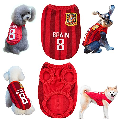 COSL Dog Clothes Football T-shirt 2018 World Cup FIFA Team Jersey for Pet Spain (1 PSC) (S)
