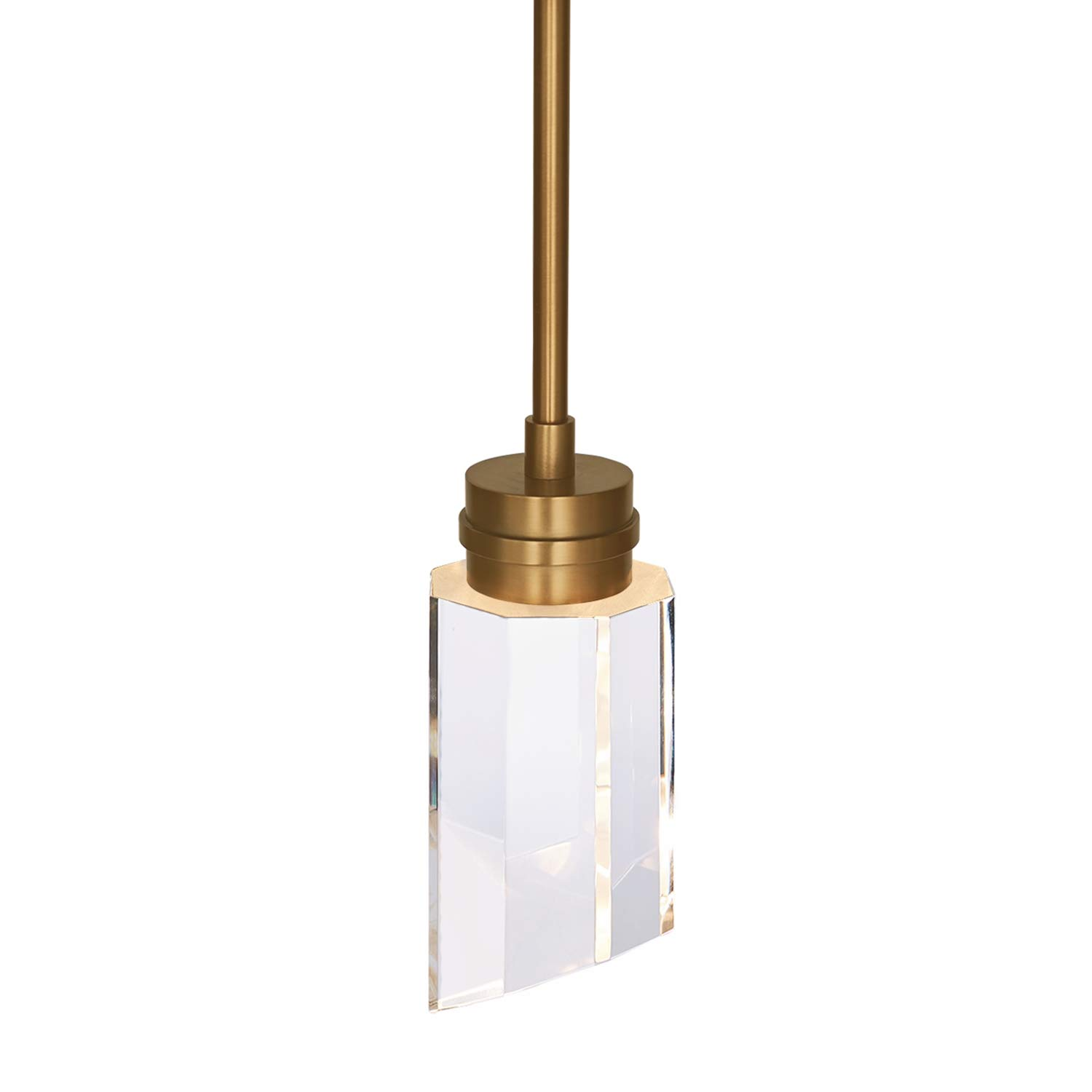 MOTINI Crystal LED Hanging Pendant Light Fixture for Kitchen Island, Modern Pendant Lighting with Clear Solid Crystal Brushed Brass Finish [ETL Listed]