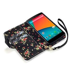 Funda de piel sintética para LG Google Nexus 5, Negra con diseño floral en el interior