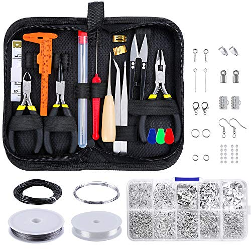PP OPOUNT 22 Pieces Jewelry Making Tools with Zipper Storage Case, 920 Pieces Jewelry Findings and 4 Kinds Beading Wire for Jewelry Making Supplies