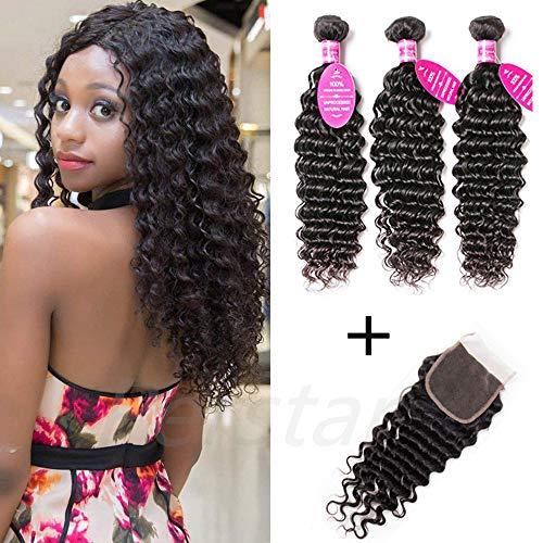 Perstar Deep Wave Bundles with Closure Brazilian Virgin Hair Bundles and Closure Wet and Wavy Human Hair Weave Bundles for Black Women 100% Remy Human Hair Bundles with Closure 16
