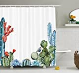 Ambesonne Cactus Decor Shower Curtain, Cactus Spikes Flowers with Birds Cartoon Vintage Like Colored Artwork, Fabric Bathroom Decor Set with Hooks, 75 Inches Long, Green and Blue