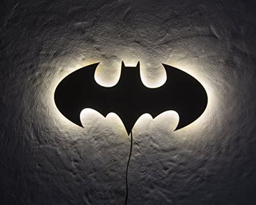 Batman LED Sign // Wall Art // Handmade from MDF Unique Bat Symbol Wall LED light // Universal current adapter // Free worldwide shipping