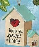 Key Keepers Decorative Hand Painted Home Sweet Home Hide A Key Birdhouse, BEIGE, 8''