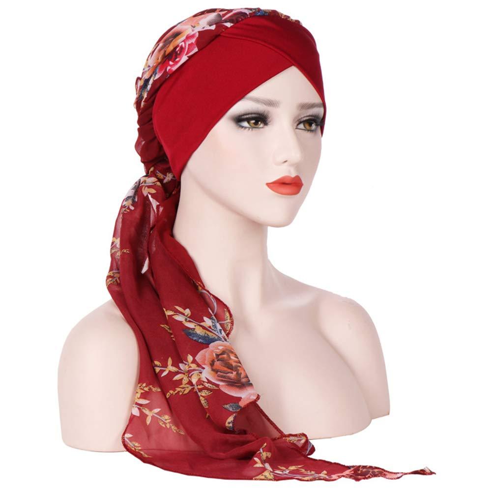 Amorar Moda Chemioterapia Cappello Moda Chiffon Sciarpa per Chemo Cappello Turbante Sciarpe per la Testa Pre-Tied Berretto per Capelli Elastico Copricapo Foulard per Cancro Cappello