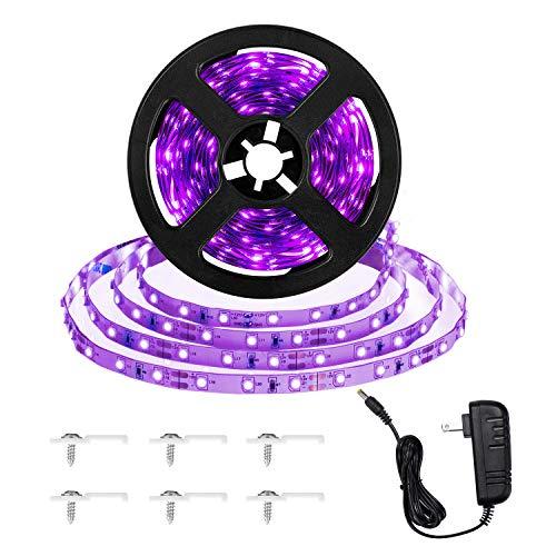 16.4ft LED UV Black Light Strip Kit, 12V Flexible Black Light Fixtures with 300 Units UV Lamp Beads, Non-Waterproof for Indoor Fluorescent Dance Party, Stage Lighting, Body Paint, UV Lighting