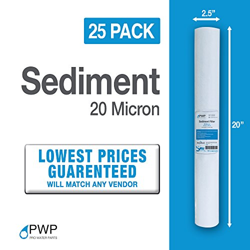 25 Pack PWP 20 Micron 20 X 2.5 Melt Blown Sediment Water Filter Cartridges by Pro Water Parts