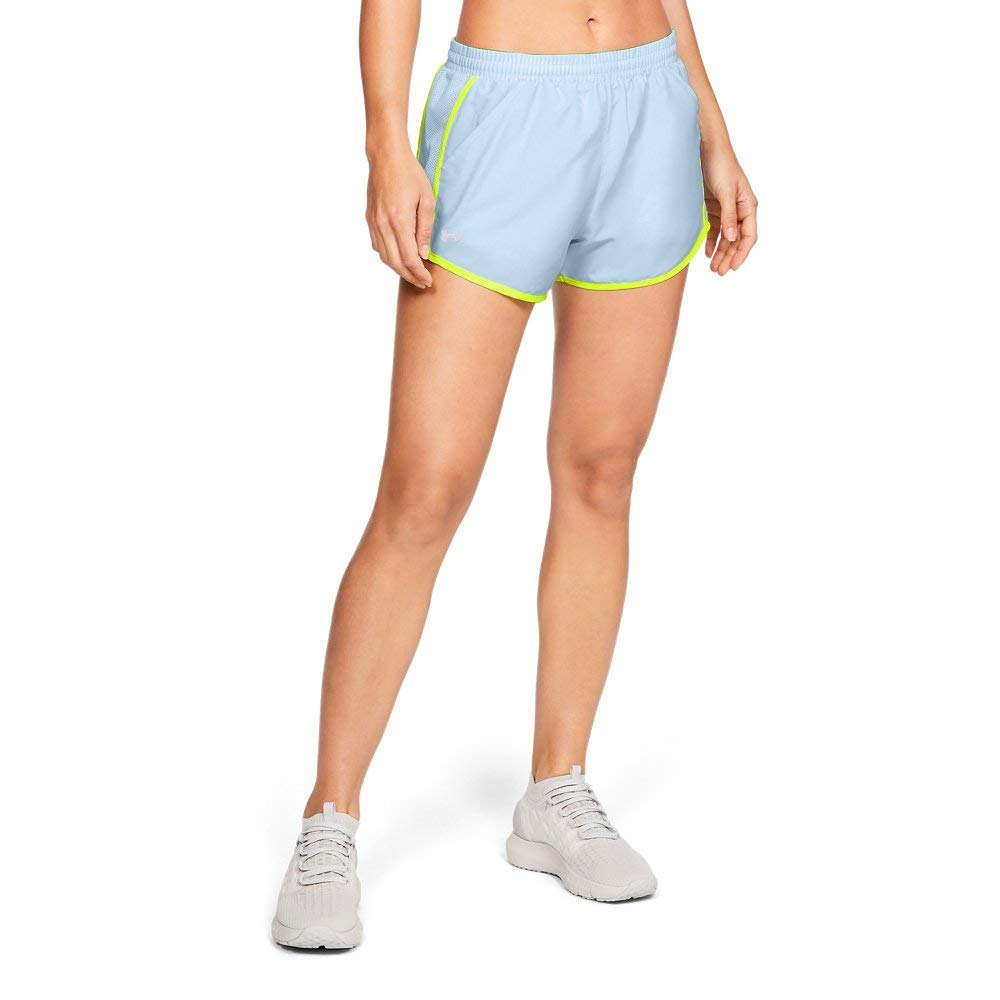Under Armour womens Fly By Running Shorts, High-Vis Yellow (451)/Reflective, X-Small