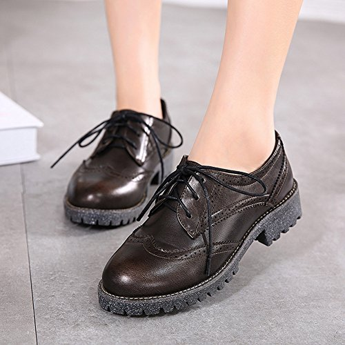 T-JULY Womens Perforated Oxfords Shoes - Retro Wingtip Lace-up Low Heel Round Toe Shoes Bronze Qowlfn