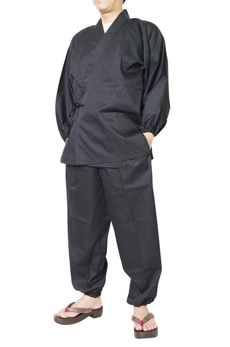 作務衣 日本製 夏用 T/C バーバリー織作務衣 袖裾ゴム式 5020 M/L/LL/3L B07CS7FTWK L|ブラック ブラック L