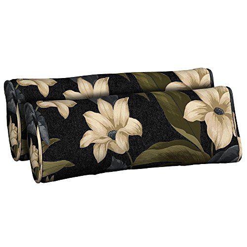 Black Tropical Blossom Outdoor Bolster Pillow  2 Pack