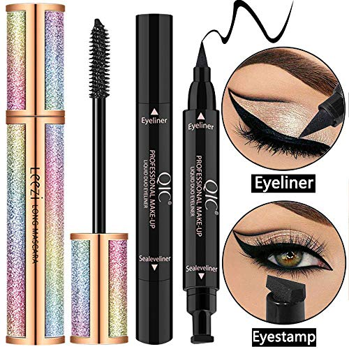 4D Silk Fiber Lash Mascara Black Waterproof (with Eyeliner Stamp) - Voluminous & Lengthening, Long Lasting, Hypoallergenic Formula, Smudge-Proof Eyelashes