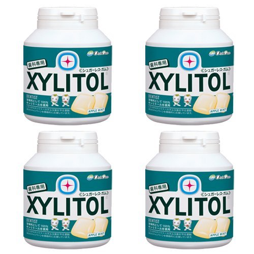 Dental dedicated Lotte xylitol gum bottle type 90 grains ~ 4 Set of apple mint taste [Parallel import] by 3M Oral Care