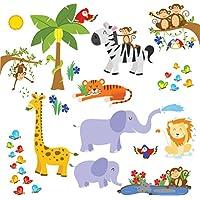 Calcomanías de pared de treepenguin para niños en la selva: lindas pegatinas de pared con tema de safari para habitaciones de bebés y niños pequeños para niños - Peel and Stick Decoración de dormitorio y de guardería