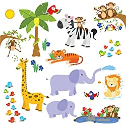 Jungle Friends Wall Decals - Fun Animals for Kids Rooms - Easy Peel Wall Stickers