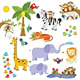 treepenguin Kids Jungle Animals Wall Decals - Cute Safari Theme Wall Stickers for Baby Toddler Boys & Girls Rooms - Peel and Stick Bedroom and Nursery Decor