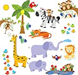 Jungle Friends Wall Decals – Fun Animals for Kids Rooms and Nursery – Easy Peel Stickers Picture