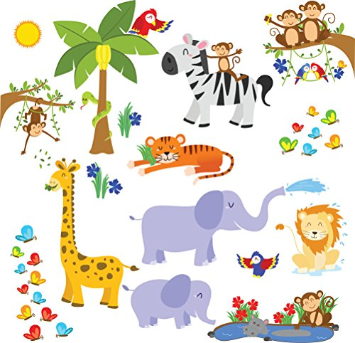 Kids Jungle Animals Wall Decals - Peel and Stick Safari Theme Wall Stickers for Baby Toddler Boys & Girls Rooms - Monkey Giraffe Zebra Tree - Bedroom and Nursery Decor