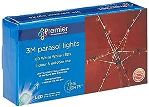 Premier condecoraciones BL1414733m 80LED luces para Parasol con temporizador–blanco cálido