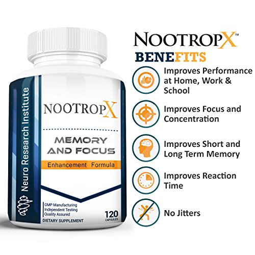 NootropX Advanced Nootropic Brain Supplement | Clinically Effective Doses | Memory and Focus Enhancement Formula | Alpha GPC | Ginkgo | Ginseng | DMAE | Theanine | Huperzine A | ALCAR