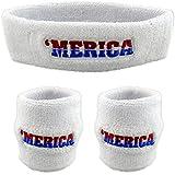 Funny Guy Mugs 'MERICA Sweatband Set (3-Pack: 1 Headband & 2 Wristbands)