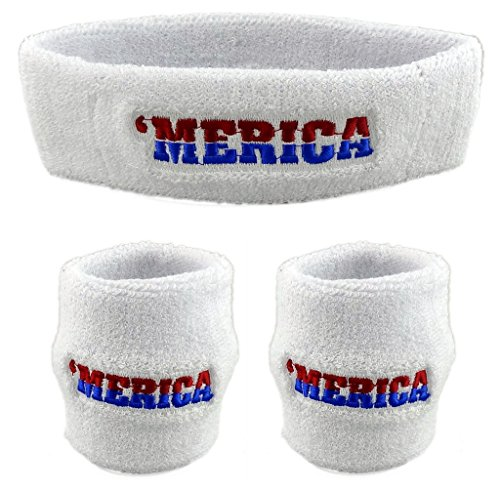 Hip Hop Costumes Cheap (Funny Guy Mugs 'MERICA Unisex Sweatband Set (3-Pack: 1 Headband & 2 Wristbands))