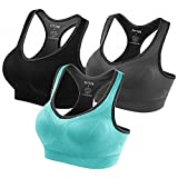Fittin Womens Padded Sports Bras Wire Free with Removable Pads Grey ,XL,3 pack